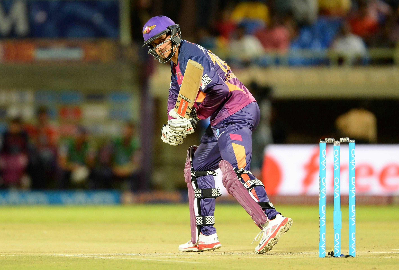 Rising Pune Supergiants batsman Usman Khawaja  plays a shot  during the 2016 Indian Premier League (IPL) Twenty20 cricket match between Rising Pune Supergiants  and Delhi Daredevils at Dr. Y.S. Rajasekhara Reddy ACA-VDCA Cricket Stadium in Visakhapatnam on May 17, 2016. (AFP)