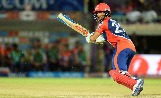 Delhi Daredevils batsman Jean-Paul Duminy plays a shot during the 2016 Indian Premier League (IPL) Twenty20 cricket match between Rising Pune Supergiants  and Delhi Daredevils at Dr. Y.S. Rajasekhara Reddy ACA-VDCA Cricket Stadium in Visakhapatnam on May 17, 2016. (AFP)