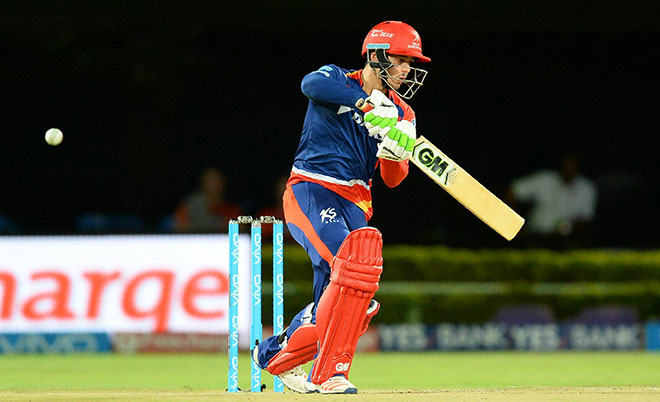 Delhi Daredevils batsman Quinton de Kock plays a shot during the 2016 Indian Premier League (IPL) Twenty20 cricket match between Rising Pune Supergiants  and Delhi Daredevils at Dr. Y.S. Rajasekhara Reddy ACA-VDCA Cricket Stadium in Visakhapatnam on May 17, 2016. (AFP)