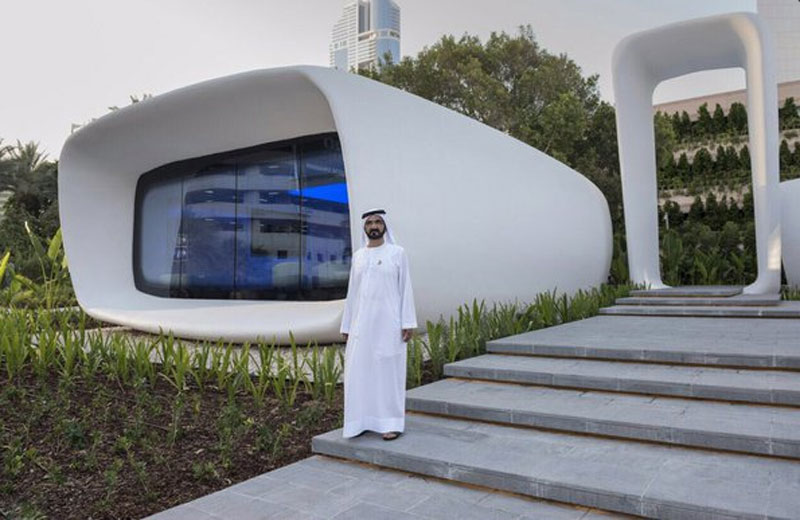 Mohammed inaugurates world's first 3D-printed office in Dubai (Picture Courtesy: Dubai Media Office Twitter)