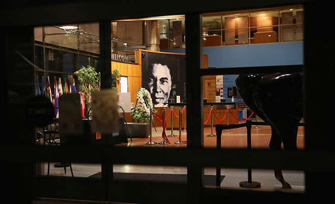 """A portrait of """"The Champ"""" gazes from the lobby of the Muhammad Ali Center on June 8, 2016 in Louisville, Kentucky. (AFP)"""