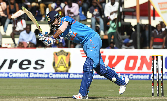 Indian batsman Lokesh Rahul plays a shot during the One Day International cricket match against Zimbabwe at Harare Sports Club, Saturday, June 11, 2016. (AP)