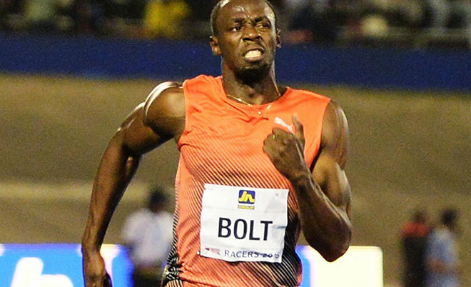 Usain Bolt wins the 100-meter final ahead of Yohan Blake and Asafa Powell in the Racers Grand Prix track and field event at the National Stadium in Kingston, Jamaica, Saturday, June 11, 2016. (AP)