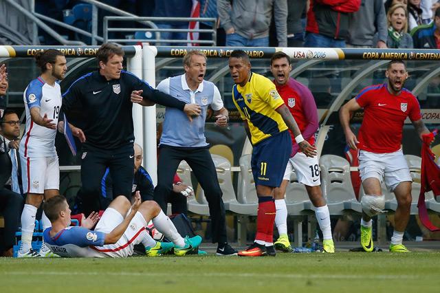 Head coach Jurgen Klinsmann of the United States reacts after Michael Arroyo #11 of Ecuador knocked Matt Besler #5 (on ground) over during the 2016 Quarterfinal - Copa America Centenario match at CenturyLink Field. (AFP)