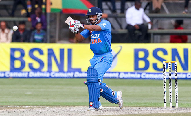 India's batsman Kedar Jadhav plays a shot during the third and final T20 cricket match in a series of three games between India and hosts Zimbabwe in the Prayag Cup at Harare Sports Club, on June 22, 2016 in Zimbabwe. (AFP)
