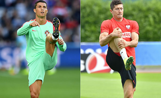 This combination of pictures created on June 26, 2016 shows Portugal's Captain and forward Cristiano Ronaldo warming up before the round of sixteen football match Croatia against Portugal of the Euro 2016 football tournament, on June 25, 2016 at the Bollaert-Delelis stadium in Lens, and Poland's captain and  forward Robert Lewandowski taking part in a training session in La Baule, on June 23, 2016, during the Euro 2016 football tournament. (AFP)