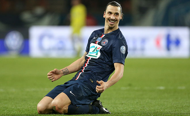 Zlatan Ibrahimovic of PSG celebrates his third goal during the French Cup semi-final match between Paris Saint-Germain FC (PSG) and AS Saint-Etienne (ASSE) at Parc des Princes stadium on April 8, 2015 in Paris, France. (Getty Images)