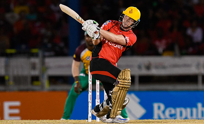 Colin Munro of Trinbago Knight Riders hits 4 during Match 5 of the Hero Caribbean Premier League between Trinbago Knight Riders and Guyana Amazon Warriors at Queen's Park Oval in Port of Spain, Trinidad. (CPL/Sportsfile)