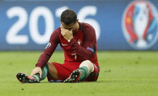 Portugal's Cristiano Ronaldo reacts after sustaining an injury. (Reuters)