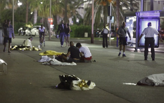 Bodies are seen on the ground after a truck attack in Nice, France (Reuters)
