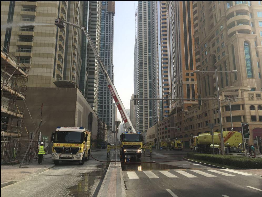 Dubai firefighters put out Sulafa Tower fire; no injuries reported. (Image courtesy Dubai Media Office)