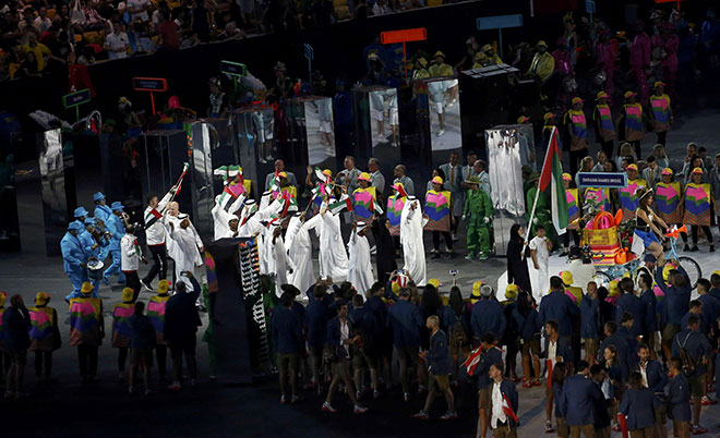 Athletes from the United Arab Emirates parade during the opening ceremony. (Reuters)