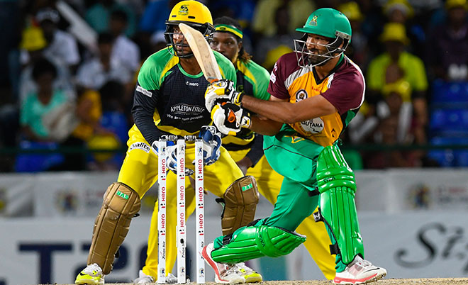 Sohail Tanvir of Guyana Amazon Warriors hits 4 during Match 34 of the Hero Caribbean Premier League (CPL) – Final at Warner Park in Basseterre, St Kitts. (CPL/Sportsfile)