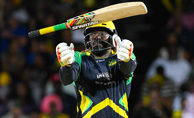 Chris Gayle of Jamaica Tallawahs celebrates his half century during Match 34 of the Hero Caribbean Premier League (CPL) – Final at Warner Park in Basseterre, St Kitts. (CPL/Sportsfile)