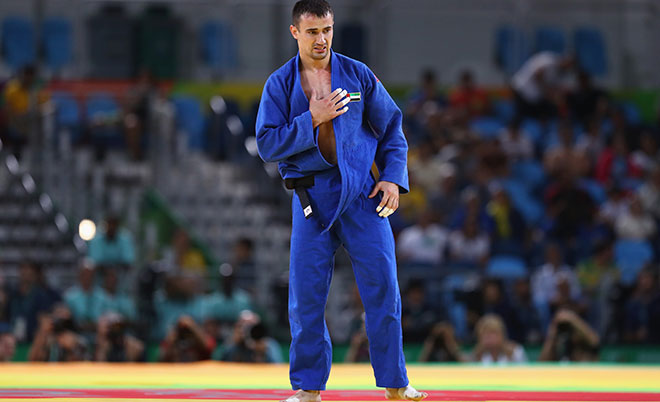 Sergiu Toma of United Arab Emirates celebrates victory over Matteo Marconcini of Italy in the Men's -81kg bronze medal a bout on Day 4 of the Rio 2016 Olympic Games at the Carioca Arena 2 on August 9, 2016 in Rio de Janeiro, Brazil. (Getty Images)