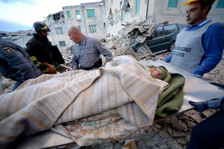 Central Italy was struck by a powerful, 6.2-magnitude earthquake in the early hours, which has killed at least three people and devastated dozens of mountain villages. (AFP)
