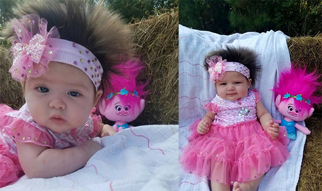costume alisha john shows her daughter areea john in elton la john says her 3 month old daughter has such a full head of hair that strangers stop