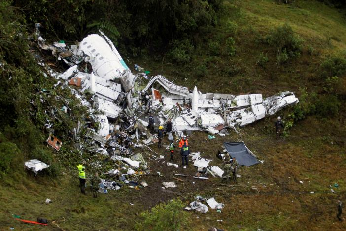 Wreckage from a plane that crashed into Colombian jungle with Brazilian soccer team Chapecoense, is seen near Medellin, Colombia, November 29, 2016. REUTERS