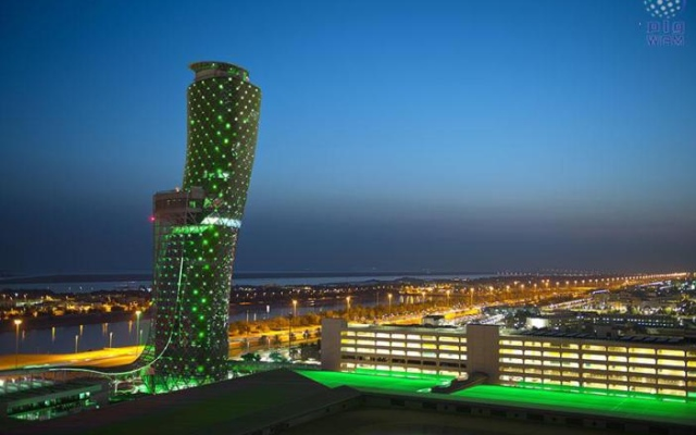 Abu Dhabi's most prominent landmarks light up in green during Abu Dhabi Sustainability Week 2017