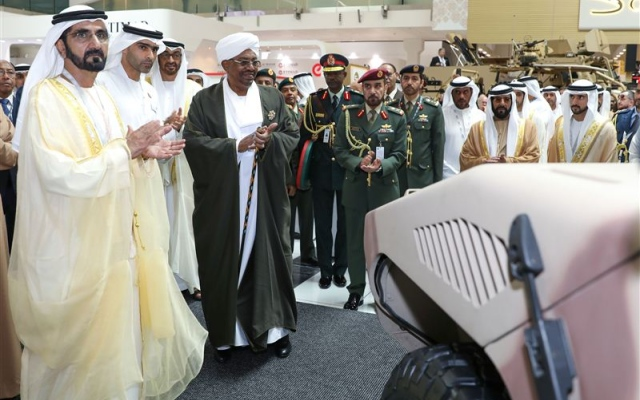 Mohammed bin Rashid, Mohamed bin Zayed and Al-Bashir inspect Rapid Intervention Vehicle