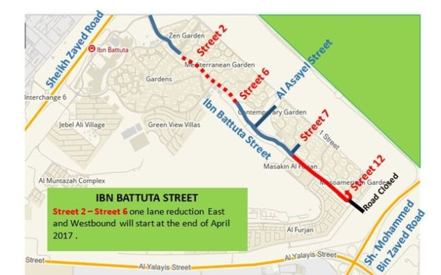 RTA carries out traffic diversions on Ibn Battuta St. to complete Route 2020 Project works