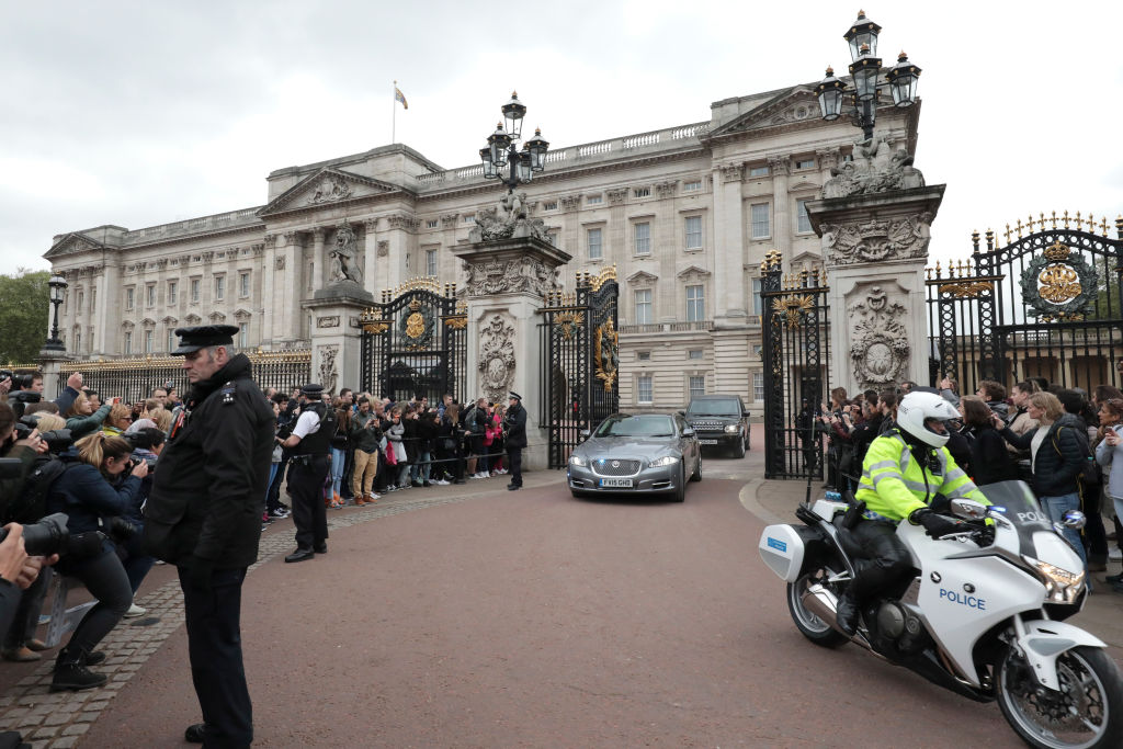 Prime Minister Theresa May leaves Buckingham Palace for Downing Street on May 3, 2017 in London, England. (Getty Images)