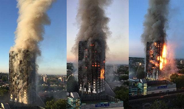 Flames and smoke coming from a 27-storey block of flats after a fire broke out in west London. (AFP)