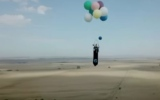 Photo: Man flies South Africa with just helium balloons and chair