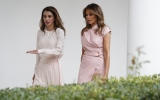 Photo: Melania Trump and Queen Rania of Jordan twinned in pink for White House visit