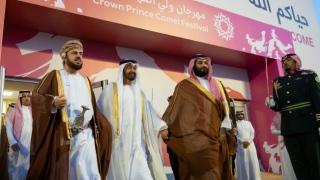 الصورة: Mohamed bin Zayed, Mohmmed bin Salman attend Mohammed bin Salman Camel Race Festival