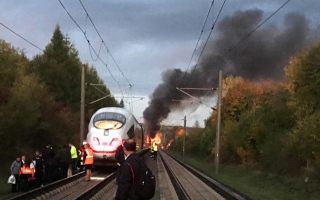 Photo: Train catches fire in southern Germany