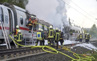 Photo: German high-speed rail line to be closed for days after fire
