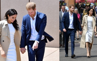 Photo: Prince Harry and Meghan start Aussie tour with baby gifts