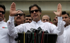 Photo: Pakistani PM's party wins less seats than expected in vote