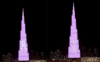 Photo: Burj Khalifa illuminates in pink to raise awareness about breast cancer