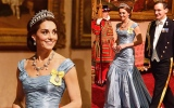 Photo: Kate Middleton wears Princess Diana's tiara at State Banquet for Dutch Royals
