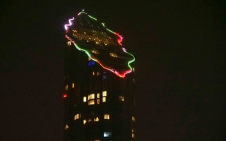 Photo: Abu Dhabi's landmarks lit up with Tolerance logo for 4th day
