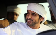 Photo: Sheikh Hamdan attends camel races at Marmoom racetrack