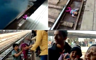 Photo: Indian baby survives being run over by train