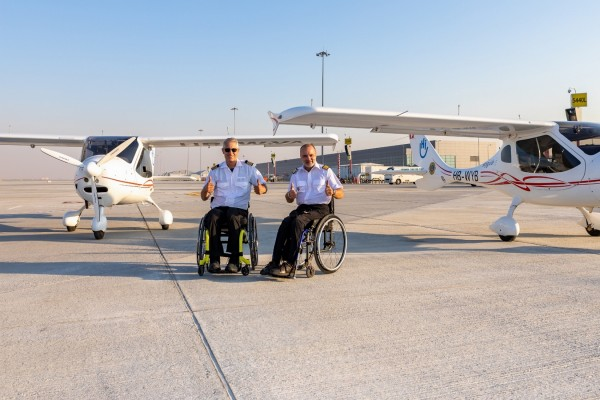 Dubai Airports and Execujet support two disabled aviators on quest to pilot around the world
