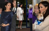 """Photo: Pregnant Meghan laughs off """"fat lady"""" comment on charity visit"""