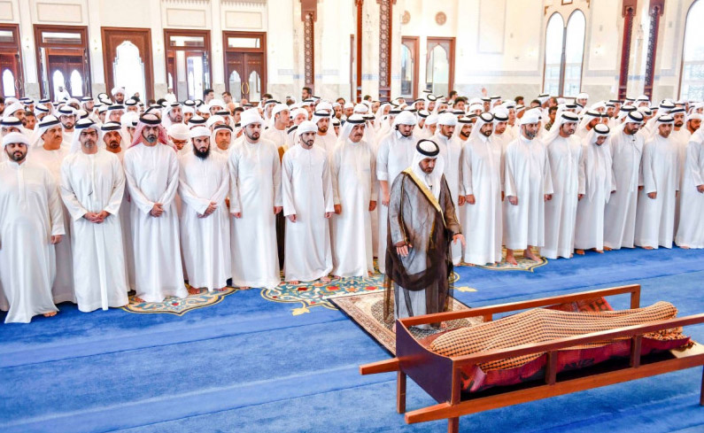 Photo: UAQ Ruler, Sheikhs perform funeral prayers on Mansour bin Ahmed Al Thani