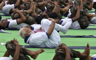 Photo: Home stretch: India leads the way on International Yoga Day