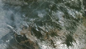 Photo: Brazil's Bolsonaro blames Amazon fires on NGOs as Twitter erupts