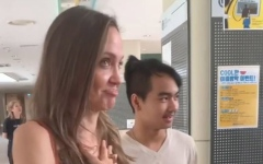 Photo: Angelina Jolie emotional as she drops son at South Korean college
