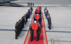 Photo: Bodies of martyrs arrive in UAE