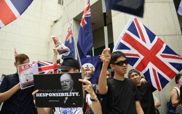 Photo: Hong Kong protesters rally for support at British Consulate