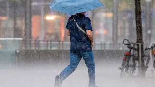 Photo: Umbrella blocks office door for two days