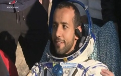 Photo: Space mission:Hazza Al Mansoori back to Earth, covered in UAE flag