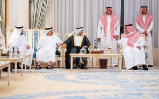 Photo: Theyab, Abdullah bin Zayed convey UAE Leaders' condolences to Prince Bandar bin Sultan